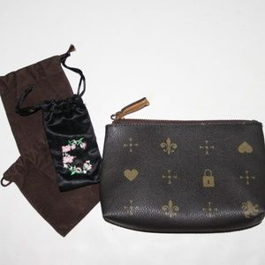 Brown and gold zippered pouch & jewelry pouches